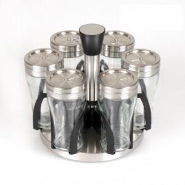 Rossler Sada kořenek 7 ks, nerez/sklo, otočný stojan