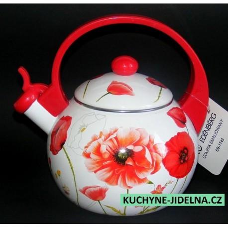 Čajník, čajová konvice Edenberg, smalt, INDUKCE - Poppies