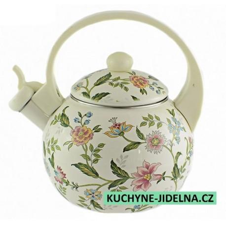 Čajník, čajová konvice Edenberg, smalt, INDUKCE - Flowers