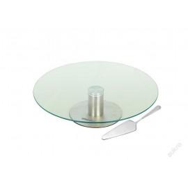 KingHoff Dortový stojan, stojan na zákusky KH-4044 nerez/sklo, otočný, lopatka
