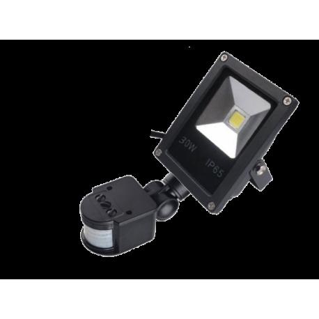 LED Halogen s čidlem 30W, reflektor, LED světlo, SLIM černá