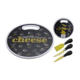 Excellent Houseware Prkénko na sýry a občerstvení + 3 nože, kruhový tvar