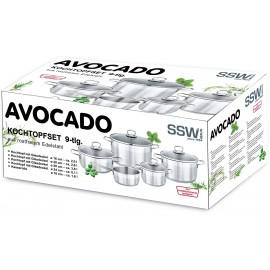 SSW Germany Sada hrnců 9ks Avocado 400079, nerez, INDUKCE