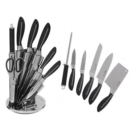 8-mi dílná sada kuchyňských nožů ve stojanu RoyaltyLine RLKSS902 ORANGE