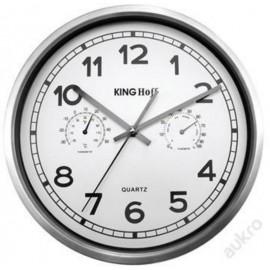 KingHoff Nástěnné hodiny 30cm KH-5027, teploměr a vlhkoměr