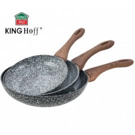 KingHoff Pánve SET 3 ks Ø20,24,28 cm KH-1030, granitový povrch, indukce