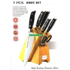 Hoffburg Sada nožů nerez 7 ks HB-3700, dřevěný stojan