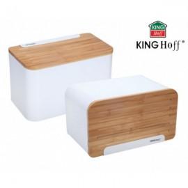 KingHoff Chlebník chlebovka KH-1072, nerezový korpus, dřevěná deska