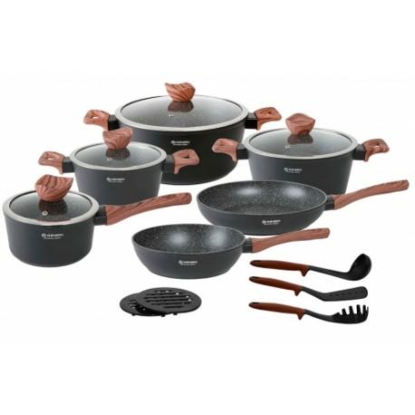 Edenberg Sada nádobí s mramorovým povrchem 15ks EB-5616 BLACK WOOD
