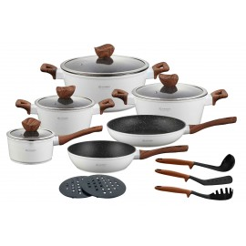 Edenberg Sada nádobí s mramorovým povrchem 15ks EB-5622 WHITE WOOD