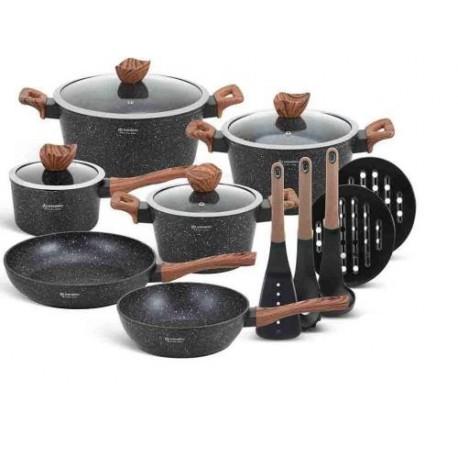 Edenberg Sada nádobí s mramorovým povrchem 15ks EB-5617 BLACK WOOD
