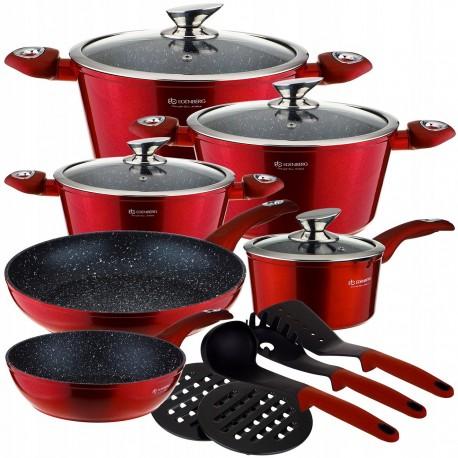 Edenberg Sada nádobí s mramorovým povrchem 15ks EB-5612 RED