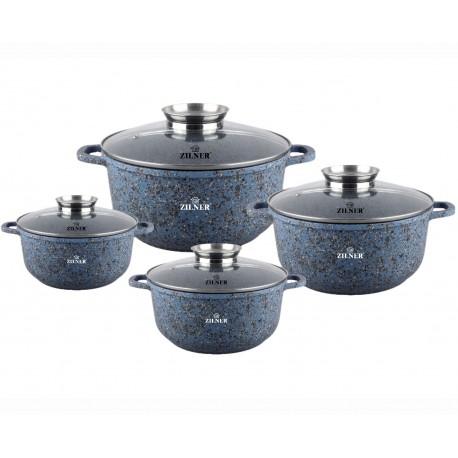 Zilner Sada granitových hrnců 8 ks ZL-7105, GRANIT BLUE indukce
