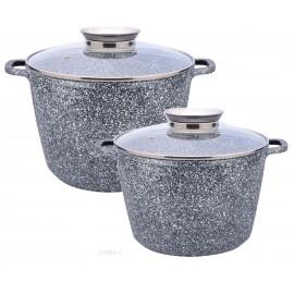 Zilner Sada granitových hnrců 4 ks ZL-7066, 6,2+10,2L, mramor, indukce