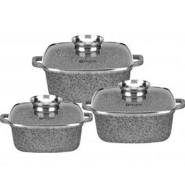 Edel Hoff Sada granitových hnrců 6 ks EH-7712, 20/24/28 cm, indukce