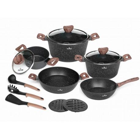 Zilner Sada nádobí s mramorovým povrchem 15ks ZL-8518 BLACK MARBLE Series