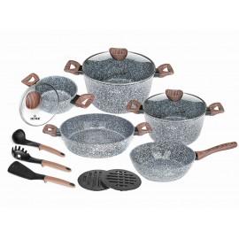Zilner Sada nádobí s mramorovým povrchem 15ks ZL-8519 FOREST MARBLE Series