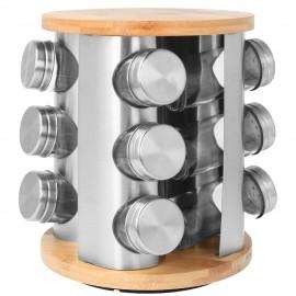 Brunbeste Sada kořenek 13 ks BB-1620, nerez/sklo/dřevo, otočný stojan