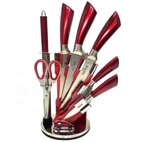 Zilner Sada Nožů Nerez 8 Ks ZL-5112, Otočný Stojan, Nerez